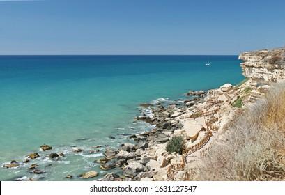Trail along the Caspian sea in Aktau Kazakhstan