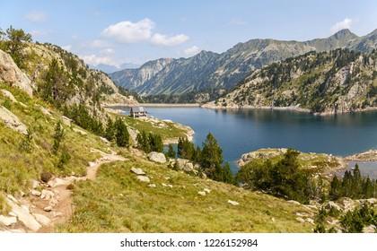 Trail Along Lake Colomers in Aiguestortes National Park, Catalan Pyrenees
