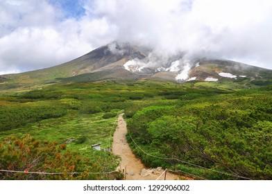 Trail around the ropeway's upper station at Asahi-dake Mountain (Mt. Asahidake), Higashikawa, Highest Mountain in Hokkaido in early summer.