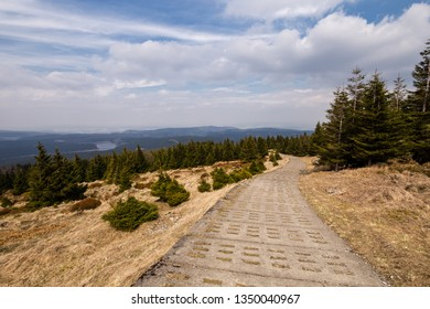 Trail as the ascent up the stone path in the Harz national Park