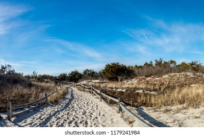 Trail to beach at Island Beach State Park in Berkely Township, New Jersey.