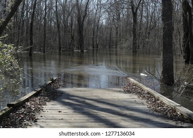 Trail Bridge Flooded Out, Water Covering the Path 1
