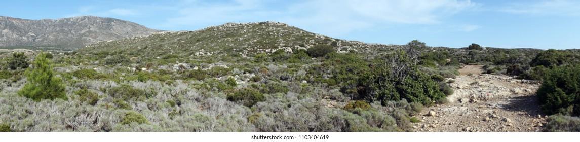 Trail in coastal area on the west coast of Crete island, Greece