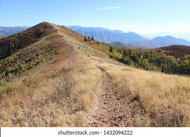 The trail crosses the spine of the ridge in East Canyon at the Wasatch Mountains near Morgan, Utah