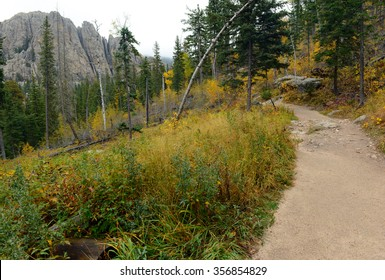 Trail to Harney Peak in the Black Hills, known as Hinhan Kaga to the Lakota Sioux, is a state high point in South Dakota and often sees rainy and cloudy weather in Autumn