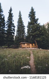A trail leading to a cabin in the woods near Vail, Colorado.
