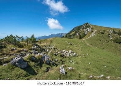 Trail leading on the mountain edge of  Velika planina (Big Pasture Plateau), Slovenia