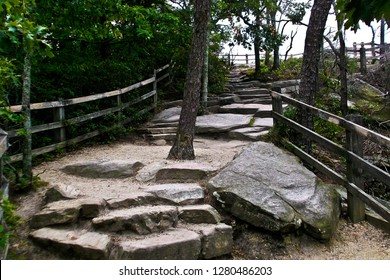 The trail  leading to the overlook on Pilot Mount in North Carolina, United States, North America.  Limestone rocks were used to construct the steps.