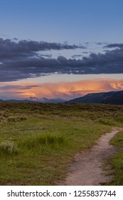 Trail Leads into Field and Sunset in Lamar Valley