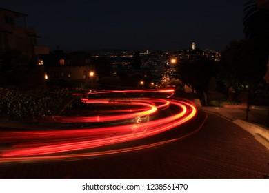 trail light in Lombard Street