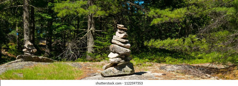 Trail marker / rock stack on a forest trail