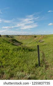 Trail Marker in Theodore Roosevelt National Park in summer
