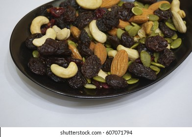 Trail Mix on Black Plate