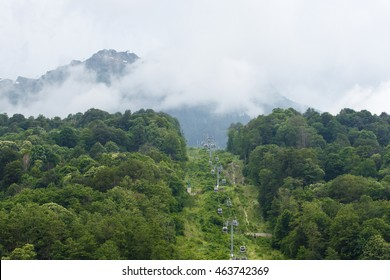 trail in the mountains, cabin cable car climb into the sky