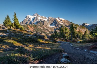 Trail near Artist's Point, Mount Baker Highway, provides close-up views of Mount Shuksan.  Alpine meadows are now in their Fall colors. Washington State, USA
