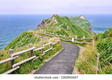 Trail to ocean at Kamui cape, the Shakotan Peninsula in western Hokkaido, Japan.
