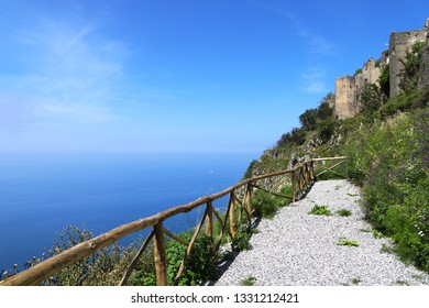 A trail on a hill in Maratea with a breathtaking view of the Mediterranean Sea
