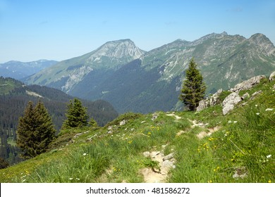 A trail on a summit of mountain in european Alps, France