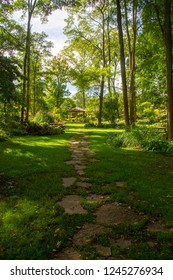 A trail on a sunny day in the Krider World's Fair Garden in Middlebury, Indiana.