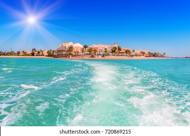 Trail on the water from the boat. El gouna. Egypt
