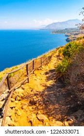 Trail overlooking the sea in Zingaro nature reserve, Sicily, Italy