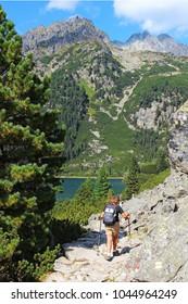 Trail to Poprad lake (Popradske pleso) in High Tatras (Vysoke Tatry) national park, Slovakia