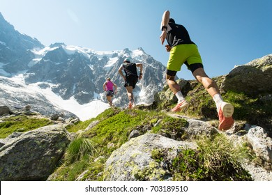 Trail running adventure in the Alps towards the mountains
