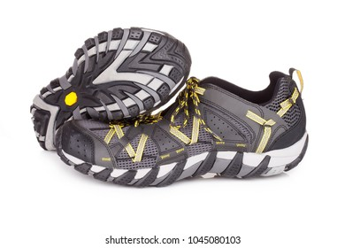 Trail running shoes, isolated on white