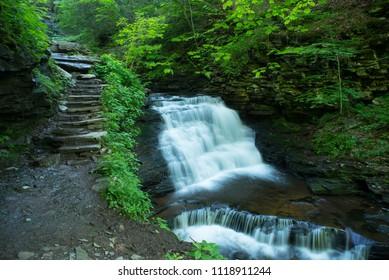 Trail side waterfall in Ricketts Glen State Park