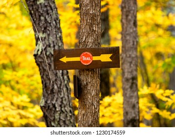 Trail Sign in Adirondack Mountains, New York