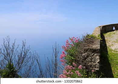 A trail to the Statue of Christ the Redeemer of Maratea with a stunning view of the sea
