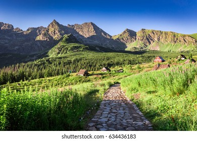 Trail in Tatras leading to a small village, Poland, Europe