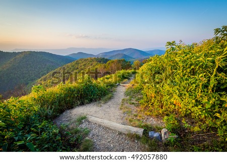 Trail and view of the Blue Ridge Mountains in Shenandoah National Park, Virginia.
