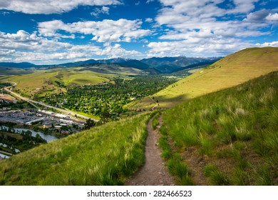 Trail and view of Missoula from Mount Sentinel, in Missoula, Montana.