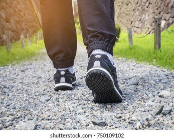 Trail walking Man legs with sport shoe Forest Park outdoor