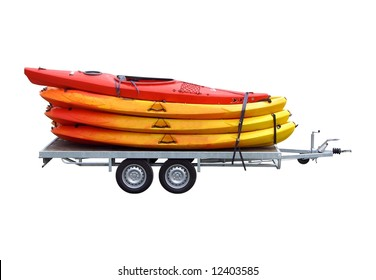 a trailer loaded with kayaks