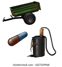 trailer, oil and pilule