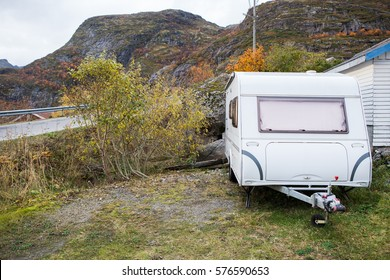 Trailer is on the background of mountains