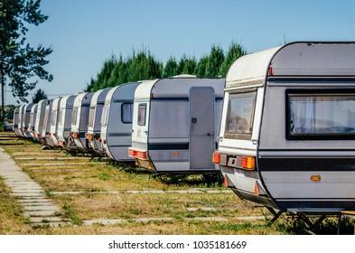 Trailer park. Summer tourist camping
