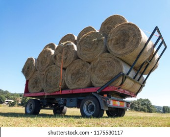 Trailer with straw bales ready to be transporated. Agricultural and livestock activity.