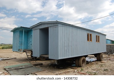 Trailer. Temporary   houses for worker near construction place. Abandoned