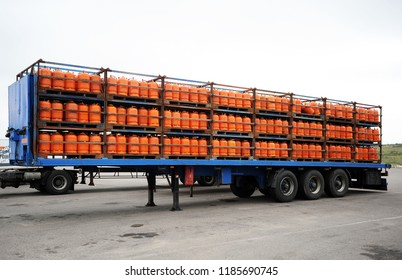 Trailer truck loaded with butane cylinders for supply to homes