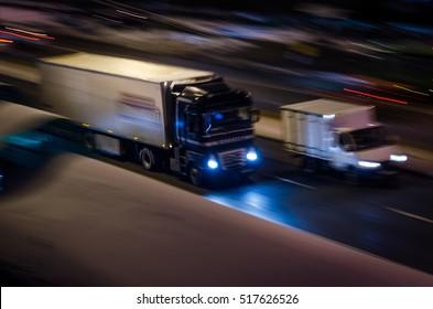 trailer truck on speed