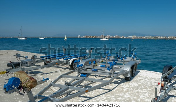 Trailers Boats Empty Boat Trailer On Stock Photo Edit Now