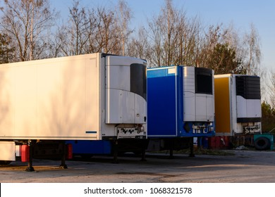 Trailers parked at the roadside