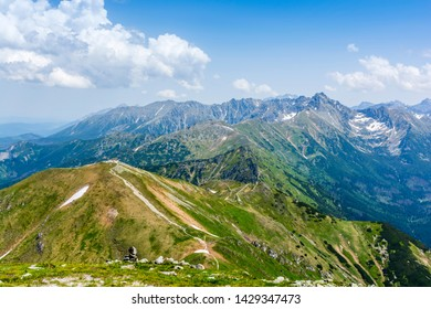 Trails in the mountains. Spring and summer landscape in the Tatras.