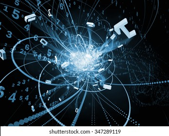 Trails of Technology series. Composition of particle trails, light and science related elements in three dimensional space suitable as a backdrop for the projects on modern technology
