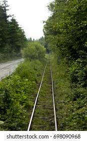 Train among the mountains