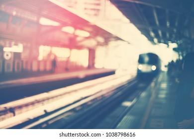 Train Arrival Urban Metro Station BTS in Bangkok City Toned Photo Blurred Defocused Background