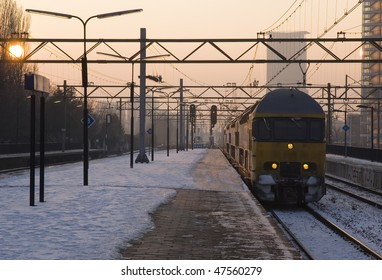 Train arriving at a trainstation